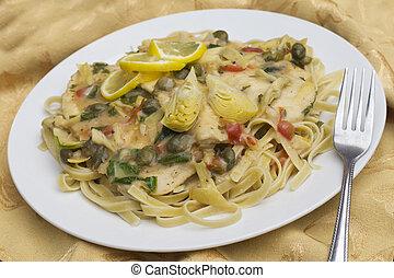 Chicken Piccata Linguine - Italian chicken piccata schnitzel...