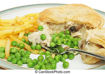 Chicken pie chips and peas