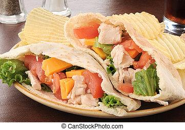 Chicken pita sandwich with chips - A chicken sandwich on ...