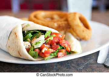 Chicken Pita Wrap Sandwich - Chicken pita wrap sandwich with...