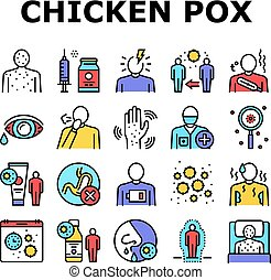 Chicken Pox Disease Collection Icons Set Vector