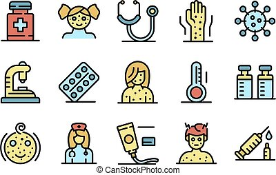 Chicken pox icons set vector flat