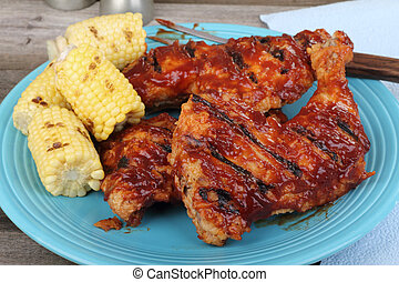 Chicken Quarters and Corn - Chicken quarters and corn on the...