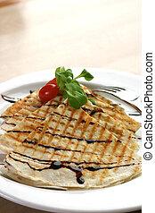 Chicken Quesadilla - Three cheese chicken quesadilla,...