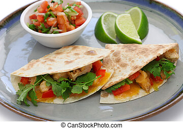 chicken quesadillas - mexican food isolated on white...