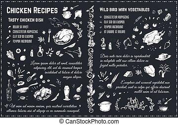 Chicken recipes. Vintage hand drawn chalk vector