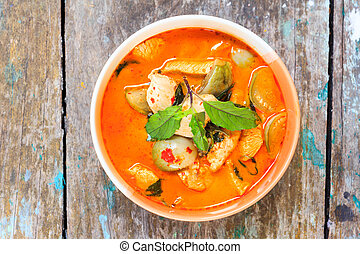 chicken red curry, delicious thai cuisine