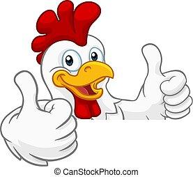 Chicken Rooster Cockerel Bird Cartoon Character - A chicken...