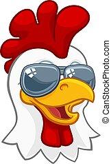 Chicken Rooster Cockerel Bird Sunglasses Cartoon - A chicken...