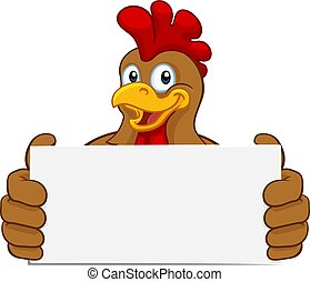 Chicken Rooster Cockerel Holding Sign Cartoon - A chicken...