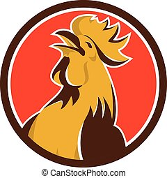Chicken Rooster Crowing Circle Retro