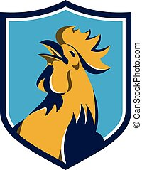 Chicken Rooster Crowing Crest Retro