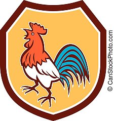 Chicken Rooster Crowing Looking Up Shield Retro
