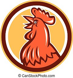 Chicken Rooster Head Crowing Circle Retro