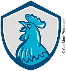 Chicken Rooster Head Crowing Shield Retro