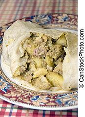 chicken roti food st. lucia west indies - Caribbean island...