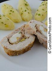 chicken, roulade, met, kruid, aardappels
