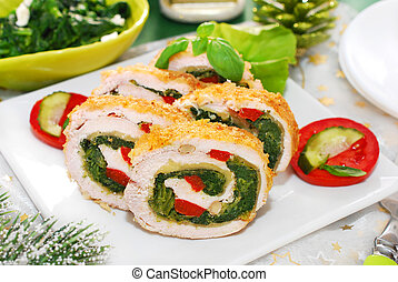 chicken roulade with spinach, cheese and red pepper for christmas dinner