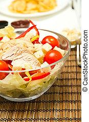 Chicken salad - Freshly made chicken salad in a bowl