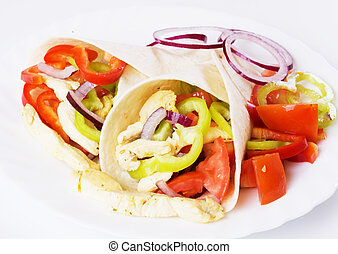 Chicken salad in tortilla wraps