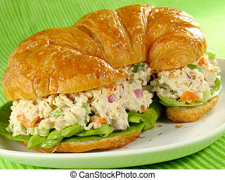 Chicken Salad on a Croiss - Chicken salad on a flaky butter...