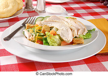 Chicken salad on a picnic table