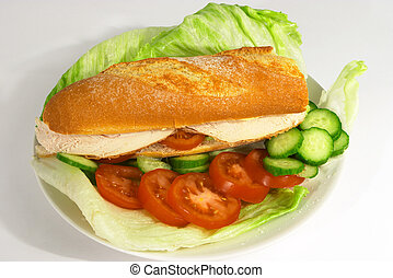 Chicken salad roll - A French stick with chicken breast,...