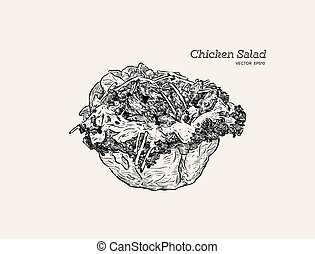 chicken salad Salad in a Tortilla Bowl , hand draw sketch ...