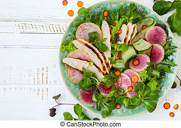 Chicken salad - Grilled chicken salad with cucumber and...
