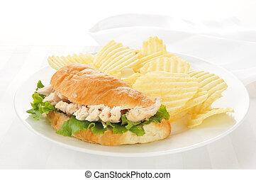 Chicken sandwich on a croissant