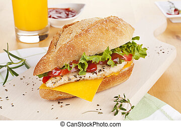 Chicken sandwich with fresh vegetables cheese. - Delicious...
