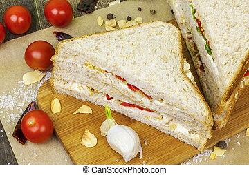 Chicken sandwiches with vegetables