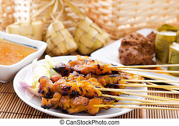 Chicken satay and ketupat
