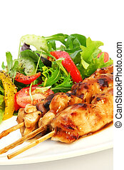 Chicken Satay and Salad - Delicious chicken satay skewers...