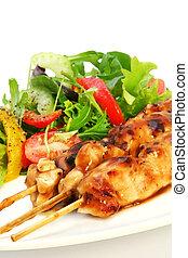 Chicken Satay and Salad - Delicious chicken satay skewers...