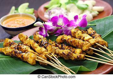 chicken satay, indonesian cuisine - chicken satay, sate ayam...