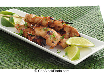 Chicken Satay - Grilled chicken satay served with lime...