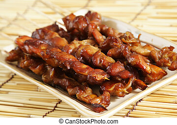 Chicken satay - Delicious chicken satay on skewers