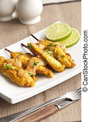 Chicken satay - Marinated chicken kebabs with peanut sauce