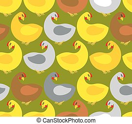 Chicken seamless pattern. Chicken farm. Many colored birds. Vector background. Repeating Ornament for fabrics.