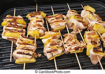 Chicken shish kebab with pineapples