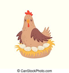 Chicken sitting in nest with eggs. Domestic fowl. Poultry farming theme. Flat vector for advertising poster or banner