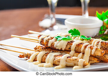Chicken skewers - Cajun chicken skewers with mayo and...