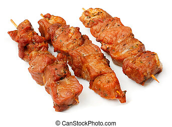 Chicken skewers isolated over white