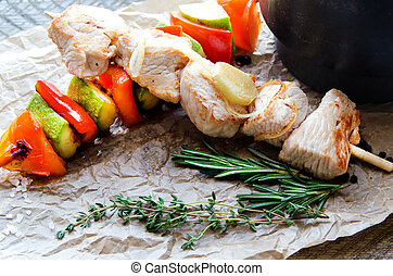 Chicken skewers of grilled meat