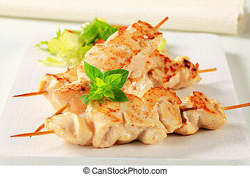 Chicken skewers - Chicken breast meat on wooden skewers