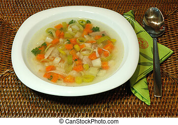 Close-up of a chicken soup in a