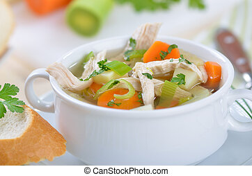 Chicken soup - Delicious homemade chicken soup with fresh...