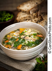 Chicken soup with rice and vegetables - Chicken rice soup ...