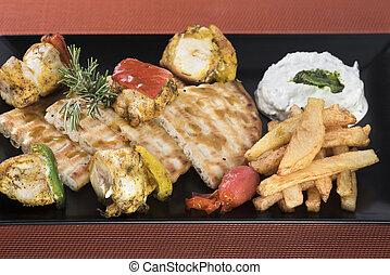 chicken souvlaki with fried potatoes,tzatziki sauce and pita bread (2).